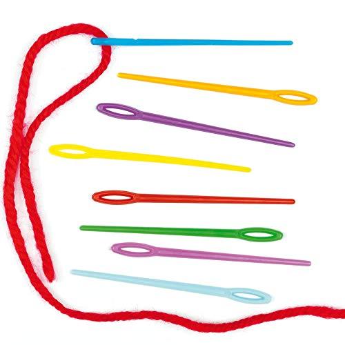 Baker Ross Agujas de Plástico de Colores (Paquete de 50) para proyectos de Costura en el Aula, Kit de Costura para niños y Kits de Bordado para Principiantes