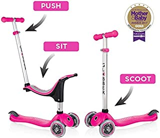 Globber Evo 4-in-1 Kick Scooter with Removal Seat for Kids & Toddlers Girls & Boys - Grows with Your Child Patented Steering Adjustable Height Reinforced Deck