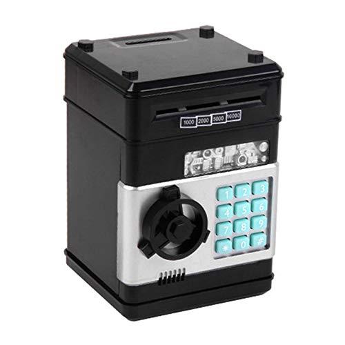 Cajero automático con contraseña, hucha electrónica, caja de ahorro de monedas en efectivo, banco cajero automático caja de seguridad para regalo de niños Dropshipping(negro)