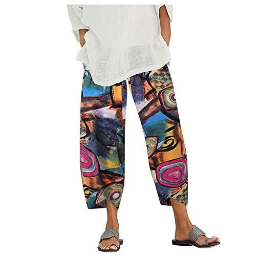 Damen Länge Hose 7/8 Sommerhosen Leicht Lockere mit Elastischem Bund Casual Solid Pocket Loose Fit, mit Kleine Chrysantheme Grafik Pants