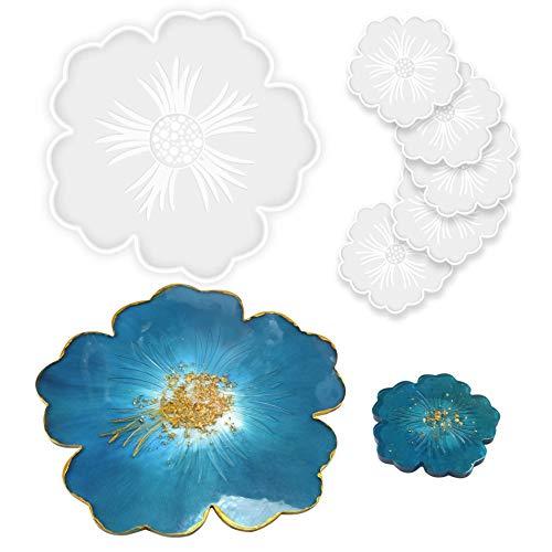 Stampi in resina siliconica a forma di fiore fai-da-te, 1 stampo per vassoio in resina grande e 5 stampi per sottobicchiere per colata di resina, decorazione della casa, vassoio per vino da tavola