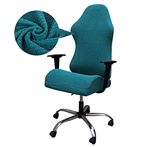 ZCFXGHH Gaming Chair Covers Printed Stretch Computer Game Chair Slipcover for Leather Office Game Reclining Racing Ruffled Gamer Chairs Protector (No Chair), Peacock Blue