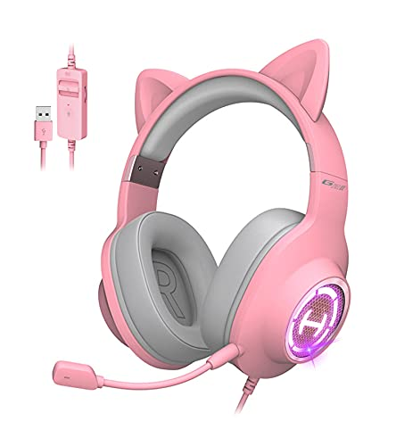 Edifier HECATE G2 II Pink Cat Ear Gaming Headset USB Wired Headphones with Mic for PC, PS4, PS5 with THX 7.1 Surround Sound, 50mm Drivers, RGB Lighting