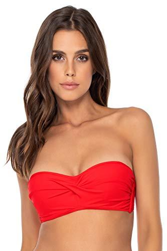 Sunsets Women's Iconic Twist Bra Sized Bandeau Bikini Top Swimsuit, Scarlet, 38DD
