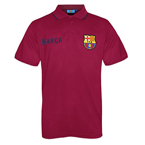 FC Barcelone Officiel - Polo de Football pour Homme - avec Blason Officiel - Bleu Marine - Rouge - Medium
