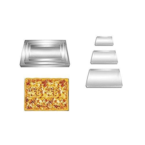 Poêle à pizza rectangle Forme 3 cm cuisson au four profond Lot de 3 Taille 22,9 cm 27,9 cm & 33 cm à tarte Plat à Four