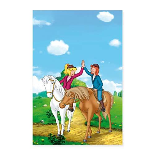 Spreadshirt Bibi und Tina Geben Sich High Five Poster 20x30 cm, Weiß