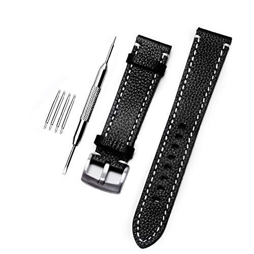ZHUGE Unisex Cinturino Orologio Di Ricambio Da In Pelle con fibbia in acciaio inossidabile,black 18MM