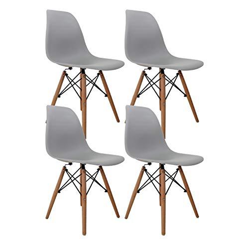 Nicemoods Juego de 4 Silla de salón sillas de Comedor de Estilo Moderno Silla de plástico de Mediados de Siglo Comedor Dormitorio con sillas escandinavas Dormitorio de cafetería (Gris)
