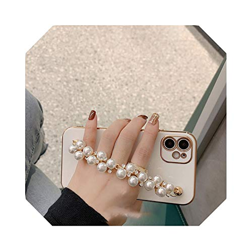 Luxury Plating - Carcasa para iPhone 11Pro Max 7 8Plus XR XS 12 Mini SE2 Blingbling Pearl - Pulsera trasera para iPhone 8 8 8 Plus