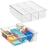 mDesign Plastic Divided Drawer Organizer and Storage Bin for Home Office, Desk Drawer, Shelf, Cabinet - Holds Scissors, Adhesive Tape, Paper Clips, Note Pads, 3 Compartments, 14' Long, 2 Pack, Clear