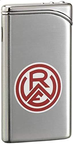 Unbekannt Rot Weiss Essen Feuerzeug Metall Chrom mit Gravur Metallfeuerzeug