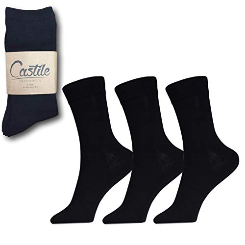 Premium Merinowolle Socken für Herren, hoher Merino-Gehalt - 60 {76123a96e2605b5af16ed6bc1d34d704ab86320d696f2212d6a901394d260873} - einfarbig schwarz für den täglichen Gebrauch, Arbeit, Freizeit, Sport, Wandern- Zehen- und Fersenverstärkung (3 Stück)