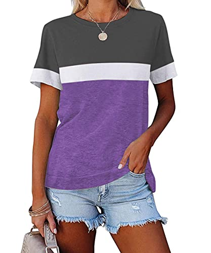 ZIWOCH Women's Summer Color Block Short Sleeve Tunic Tops Crew Neck Casual Basic Comfy Loose Fit T Shirts Purple