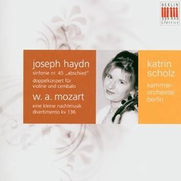 "Haydn: Double Concerto for Violin, Harpsichord and Strings & Symphony No. 45 ""Farewell Symphony"" - Mozart: Divertimento ""Salzburg Symphony"" No. 1 & Serenade No. 13 ""Eine Kleine Nachtmusik"""