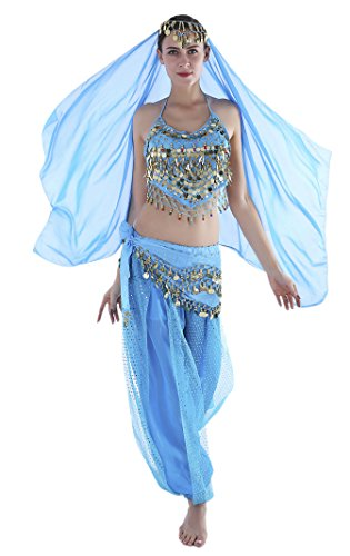 Seawhisper 1001 Nacht Kostüm Damen Kostüme Jasmin Jeannie Orient Prinzessin Bauchtänzerin Haremsdame Faschingskostüme Fasching