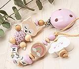 Schnullerkette mit Namen Wunschname Baby Mädchen Regenbogen + Fuchs Häkelperle mint rosa natur Holz
