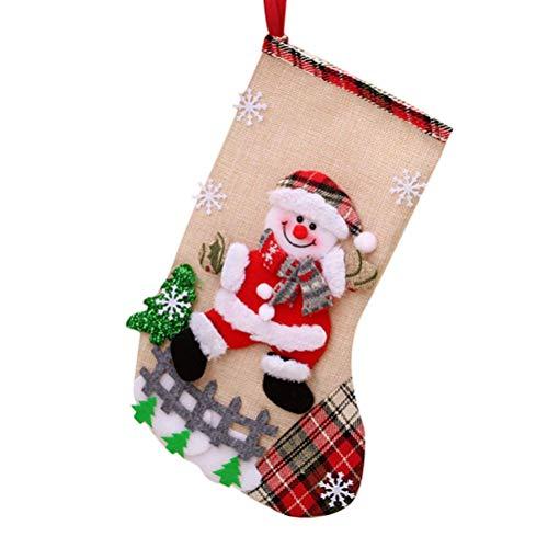 LaoZi Medias de Navidad Bolsa de Regalo Medias de Navidad para el árbol de Navidad Chimenea Decoración Colgante Calcetín de Navidad Santa/Reno/Muñeco de Nieve