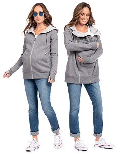 Seraphine Women's 3 in 1 Maternity Hoodie Size XLarge Grey Marl