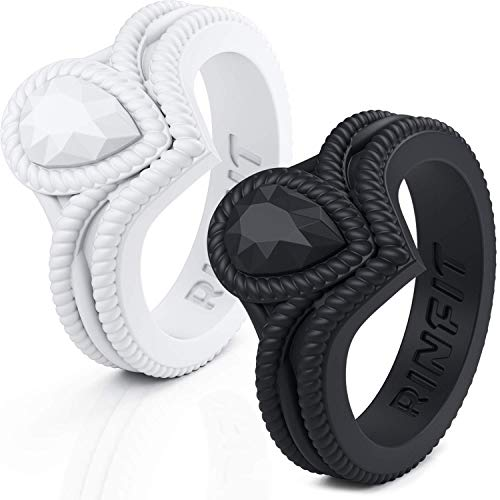 Silicone Wedding Ring for Women by Rinfit. 2 Rings Pack. Comfortable & Soft Rubber Wedding Bands. (Black & White. Size 8, #sd01)