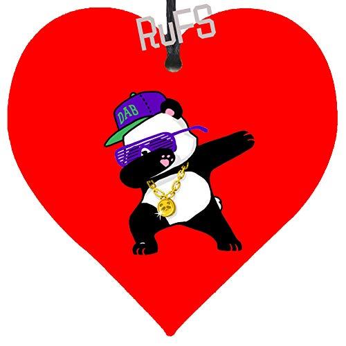 Rufs Dabbing Panda Funny Shirt Dab Hip Hop Christmas Hanging Metal Heart Plaque Gift Festive Bauble Heart Shape Tinplate Poster Decoration Keepsake