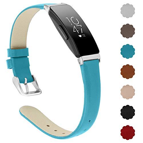 XIMU Kompatibel mit Fitbit Inspire HR Armband/Inspire Armband, Verstellbarer Schultergurt Sport Gürtel Leder Armband Armband Ersatz Zubehör Kompatibel Female Male