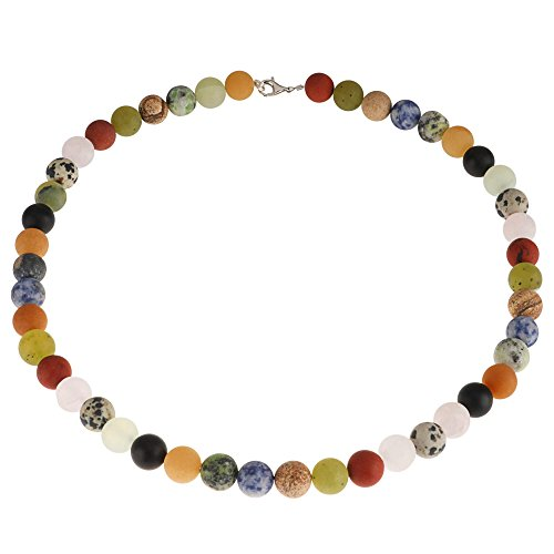 Multicolor Edelstein-Kette Achat Onyx Jade Jaspis Karneol Calcit Sodalith Kugel mattiert