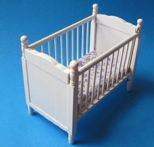 CREAL SàRL Puppenbett Weiss mit Matratze Puppenhausmöbel Kinderzimmer Miniatur 1:12