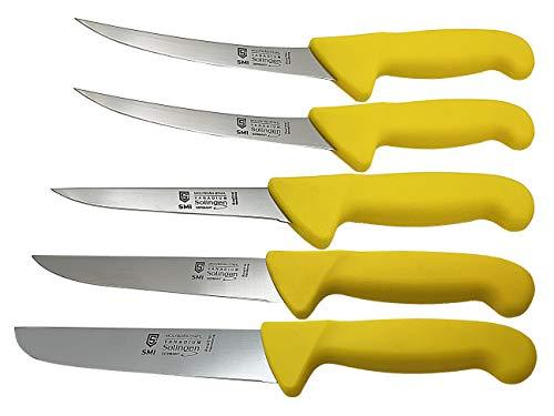 SMI - 5 Piezas Set Solingen Cuchillo de Carnicero Profesional, Cuchillo para deshuesar Curvado, Cuchillos de Cocinero, Cuchillo de Carne, Acero Inoxidable - German Made
