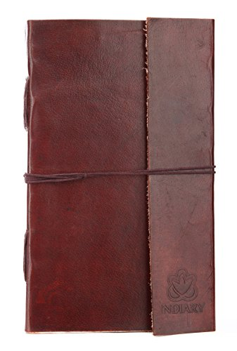 INDIARY Genuine Leather Journal Diary - 100% Cotton Handcrafted Paper - Blank Book - 9X5 Inch - Simple And Elegant Design - Blank