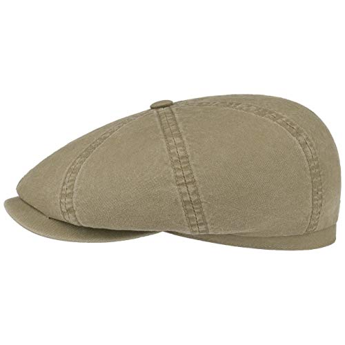 Stetson Hatteras Ballonmütze aus Bio-Baumwolle Herren - Nachhaltige Baumwollcap - Flatcap mit UV-Schutz 40 - Schiebermütze - Flat Cap Frühjahr/Sommer Oliv XXL (62-63 cm)