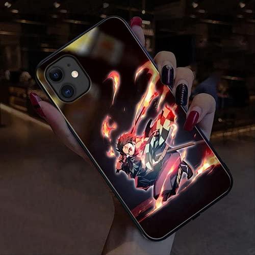 Chiamata Luce LED Flash Caso per iPhone 12 11 pro X XS Max XR 8 7 6 s Più casi del telefono Giappone Anime DBZ Vetro Temperato Back coque (per X XS, 18)