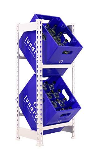 Getränkekistenregal 1000 x 410 x 300 mm, 2 Ebenen, 100 kg Tragkraft/Ebene, WEISS
