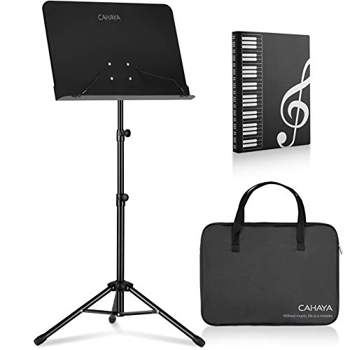 CAHAYA Sheet Music Stand Metal Portable Solid Back with Carrying Bag, Sheet Music Folder, Projector Stand