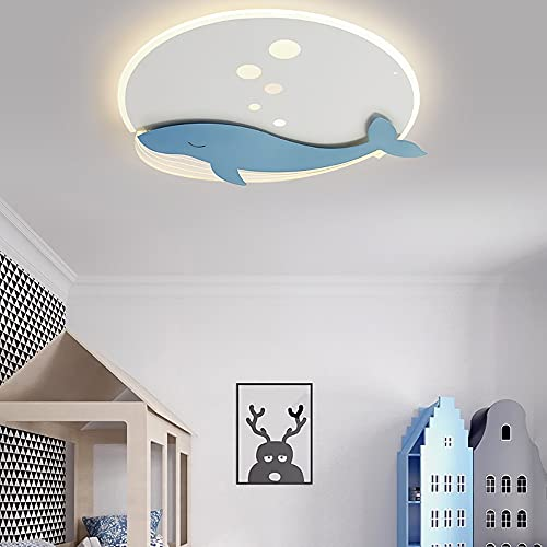 Chandelier de la habitación for niños, dibujos animados creativos Azul Forma de animales Forma for niños Habitación for niños Lámparas de techo de montaje en descarga, Nórdico moderno DIRIGIÓ Lámpara