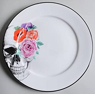 Ciroa Halloween Wicked Black Skull & Multicolor Flowers Dinner Plates - 10-1/2