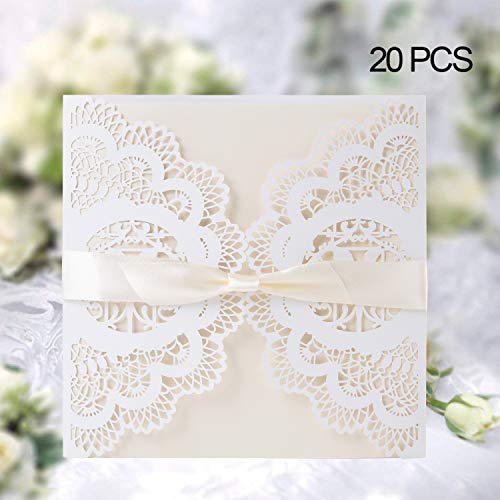 Elegant Invitations Cards Kits, Gospire 20PCs Laser Cut Lace Wedding Party Invitations Cards with Printable Paper and Envelopes for Engagement Wedding Marriage Birthday Bridal Bride Shower Party