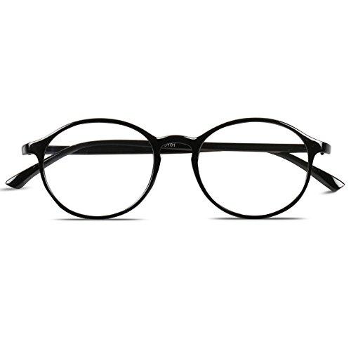 VEVESMUNDO® Lesebrillen Damen Herren Retro Runde Nerd Flexibel Lesehilfe Sehhilfe Arbeitsplatzbrille mit Stärke Schwarz Leopard 10 15 20 25 30 35 40 (+2.5, Schwarz)