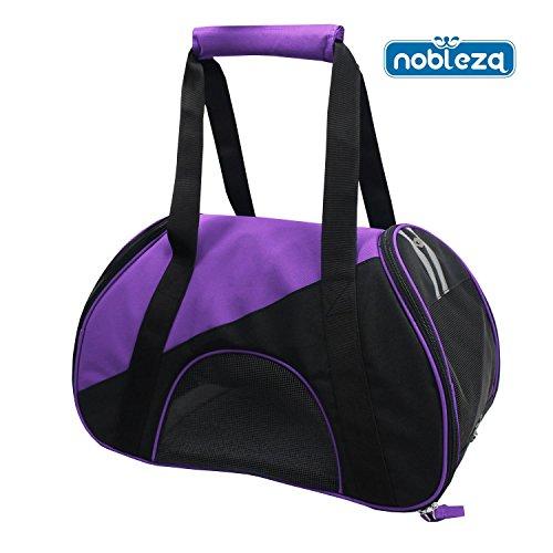 Nobleza 030194 - Bolso transportín de tela para perros, gatos o animales pequeños. Color Morado Largo 47 cm