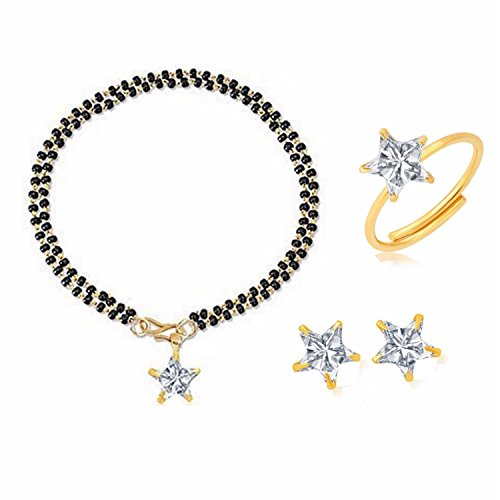 Efulgenz Indian Jewelry Bollywood Combo of Stylish Gold Plated Mangalsutra Bracelet, Ring and Earring for Women