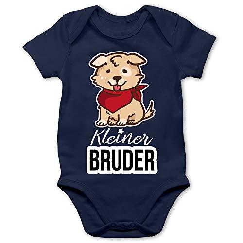 Shirtracer Geschwister Bruder und Schwester - Kleiner Bruder Hund mit Halstuch - 6/12 Monate - Navy Blau - Body Hund Baby - BZ10 - Baby Body Kurzarm für Jungen und Mädchen