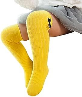 Little Girls Knee High Socks Cute Bowknot Cotton Cable Knit Toddler Dress Socks