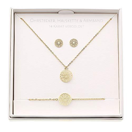 HCA Geschenkset Halskette-Armband-Ohrstecker - Motiv - Mandala des Glücks - vergoldet