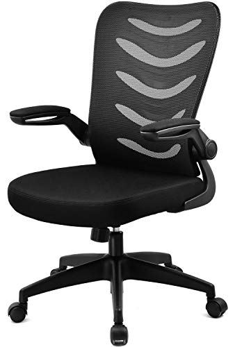 ComHoma Office Desk Chair Mesh Ergonomic Mid-Back Lumbar Support Computer Swivel Chairs with Flip-Up Armrests & Wheels for Conference Home Office,...