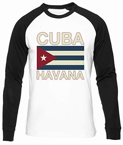 Cuba Havana Algodon Organico Unisex Camiseta Beisbol Hombre Mujer Manga Larga Tamaño M Unisex Baseball T-Shirt Long Sleeves Size M