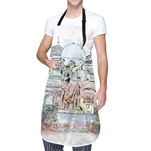 Unisex-Schürze, wasserdichtes, langlebiges, verstellbares Gebäude mit Blick auf das Wahrzeichen Colmar Town Grand Cooking-Schürzen Arbeitsschürze für das Geschirrspülen Bbq Grill Restaurant Garden