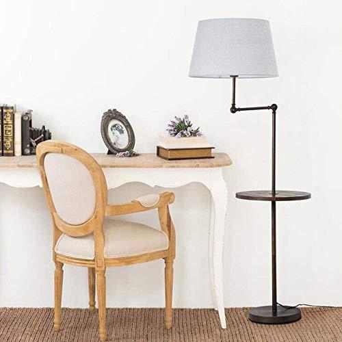 Huishoudelijke staande lamp, Amerikaanse salontafel woonkamer eenvoudige moderne slaapkamer verticale tafellamp Nordic Creative verticale tafellamp (witte scherm, linnen scherm, grijze lamp) Grijze schaduw.