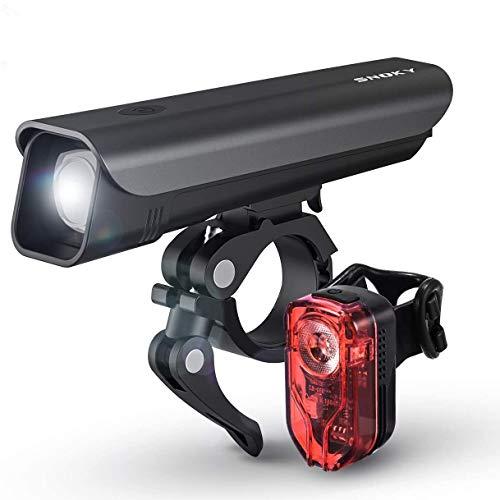 Snoky Fahrradlicht Set Fahrradbeleuchtung StVZO Zugelassen USB Fahrradlicht Wiederaufladbare mit Samsung Lithiumbatterie IPX5 Wasserdicht LED Fahrradlicht