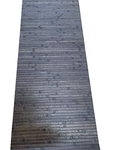 tappeto cucina 60x220 Tappeto bamboo a METRAGGIO vari colori disponibili ANTISCIVOLO (cucina bagnpo camera sauna) (Legno scuro)