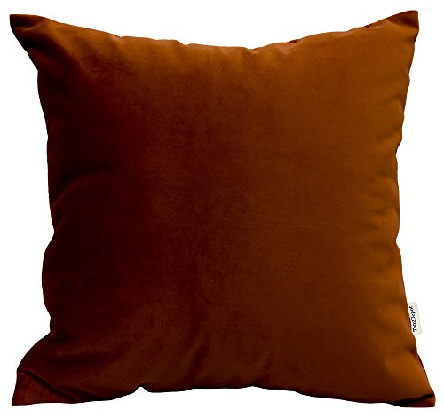 TangDepot Solid Velvet Throw Pillow Cover/Euro Sham/Cushion Sham, Super Luxury Soft Pillow Cases, Many Color & Size Options - (16'x16', Texas Orange)